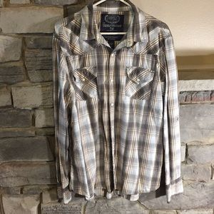 Gray/White Button Down Plaid Shirt
